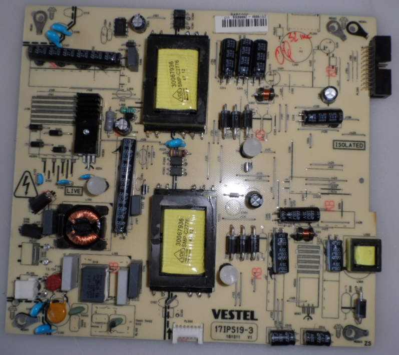 17IPS19-3/32INC/VES POWER BOARD ,17IPS19-3,181011 V1 for 32inc DISPLAY ,23078999,26969326,