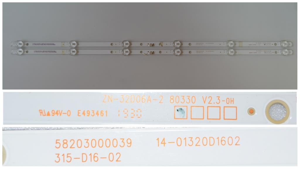 LB/32INC/CROWN/3233T2 LED BACKLAIHT,58203000039,14-01320D1602,315-D16-02,ZN-32D06A-2 80330 V2.3-OT,2X6 DIOD 3V, 590mm,