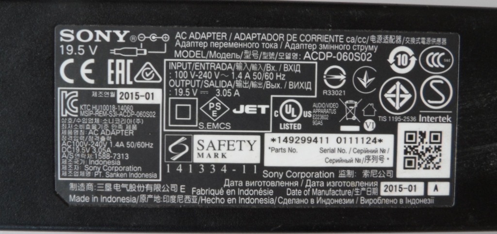 ADAP/SONY/19.5V/3.05A ADAPTER ORIGINAL for SONY, 19.5V/3.05A, ACDP-060S02,