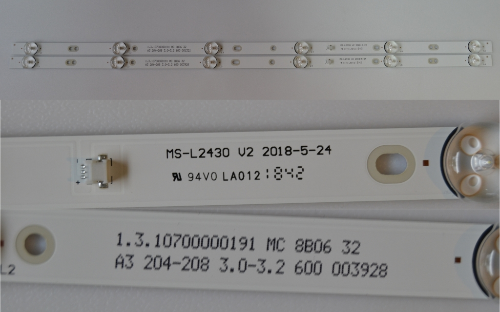 LB/32INC/NEO/32T2 LED BACKLAIHT,MS-L2430 V2 2018-5-24,1.3.10700000191 MC 9222 32, 2X6 diod 3V 575 mm