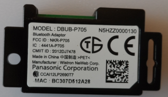 BT/PAN/55AS640 BLUETOOTH  MODULE ,DBUB-P705,N5HZ0000130, for ,PANASONIC,